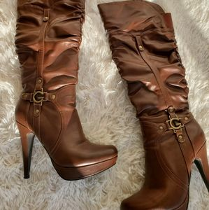 Guess Brown Knee High Platform Stiletto Boots